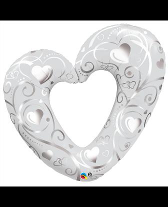 Globo corazón con filigrana blanco y plata