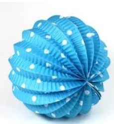 Farolillo azul con lunares en blanco