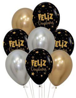 Globos látex feliz cumpleaños cromados
