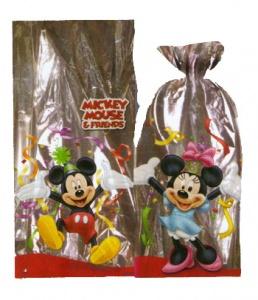 Bolsa rectangular Mickey y Minnie llena de golosinas