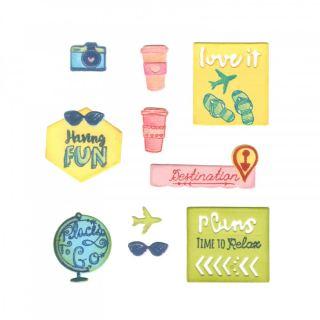 imagen Sizzix Framelits Die Set 13PK w/Stamps - Travel Planner