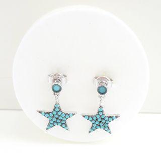 imagen Pendientes plata turquesa dobles estrellas