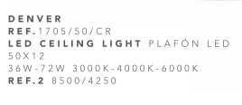 thumb 1705/50/CR PLAFÓN LED CROMO 50CM 36W-72W - (3000K-4000K-6000K) CON MANDO A DISTANCIA - SERIE DENVER