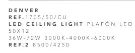 thumb 1705/50/CU PLAFÓN LED CUERO 50CM 36W-72W - (3000K-4000K-6000K) CON MANDO A DISTANCIA - SERIE DENVER