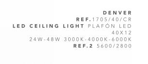 thumb 1705/40/CR PLAFÓN LED CROMO 40CM 24W-48W - (3000K-4000K-6000K) CON MANDO A DISTANCIA - SERIE DENVER