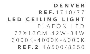 thumb 1710/77 PLAFÓN LED CROMO 77CM 84W - (3000K-4000K-6000K) CON MANDO A DISTANCIA - SERIE DENVER
