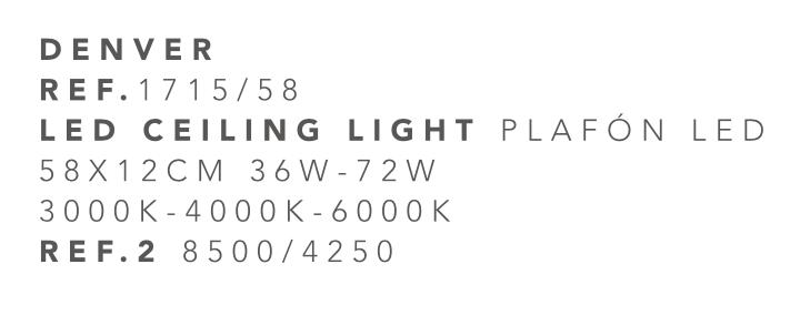 thumb 1715/58 PLAFÓN LED CROMO 58CM 36W-72W - (3000K-4000K-6000K) CON MANDO A DISTANCIA - SERIE DENVER