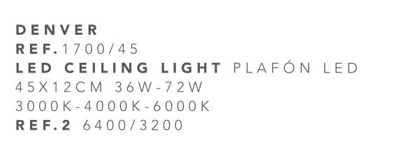 thumb 1700/45 PLAFÓN LED 45CM 36W-72W - (3000K-4000K-6000K) CON MANDO A DISTANCIA - SERIE DENVER