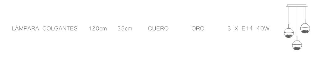 thumb 1415-3P-CU PLAFÓN 3L CUERO SERIE ARIADNA - SERIES M.I.S.