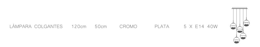 thumb 1415-5P-CR PLAFÓN 5L CROMO ARIADNA - SERIES M.I.S.