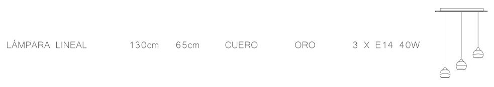 thumb 1540/3PS/CU/BEO PLAFÓN SIMETRICO CUERO  ALTURAS 3 TUL. BELA ORO - SERIES M.I.S.