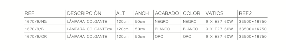 thumb 1670/9/BL LÁMPARA ALTURAS  9L BLANCO- SERIE NAROA - SERIES M.I.S.