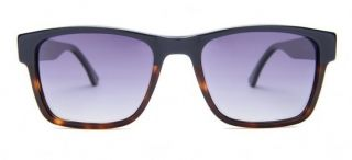 Gafas de sol acetato bicolor negra marrón caballero con lentes polarizados.