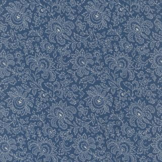 ANDOVER FABRICS FRENCH CHATEAU DE RENEE NANNEMAN JACOBEAN COUNTRY LILY TOILE BLUE