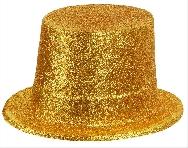 Sombrero chistera escarcha dorada