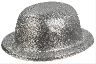 Sombrero bombin escarcha plata