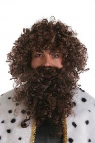 Peluca y barba Rey Mago castaña
