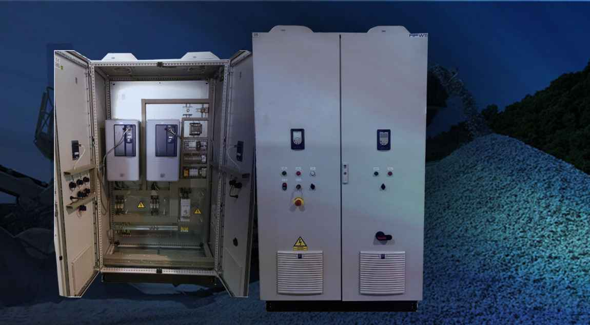 Electrical panels for mineral crushing machines