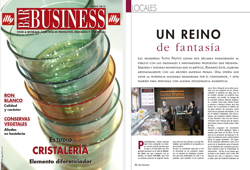 Foto Artículo sobre Tutto Frutto en la revista Bar Business